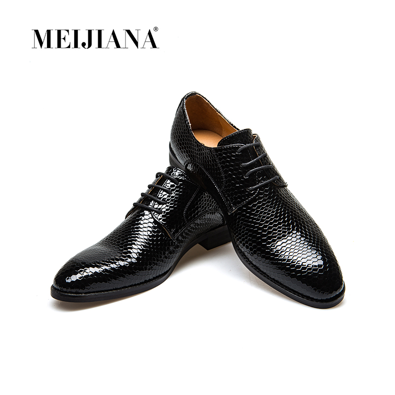 Shoes Snake Leather Men Oxford Shoes Lace Up Casual Business Men Pointed Shoes Brand Men Wedding Men Dress Boat Shoes Men's Casual Shoes