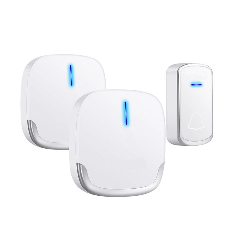 Wireless Doorbell Waterproof 280M Range Smart 58 Melody Ring Door Bell 1 Push Doorbells Button + 2Receivers Vc100-240V(Us Plug