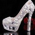 Luxurious Elegent White Pearl Wedding Dress Shoes Lady Platform Rhinestone Bridal Dress Shoes Woman High Heel Banquet Shoes