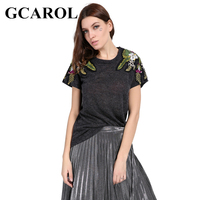 GCAROL 2018 Early Spring Embroidered Floral T Shirt Two Type Shoulder Floral Design Knit Tops Tees