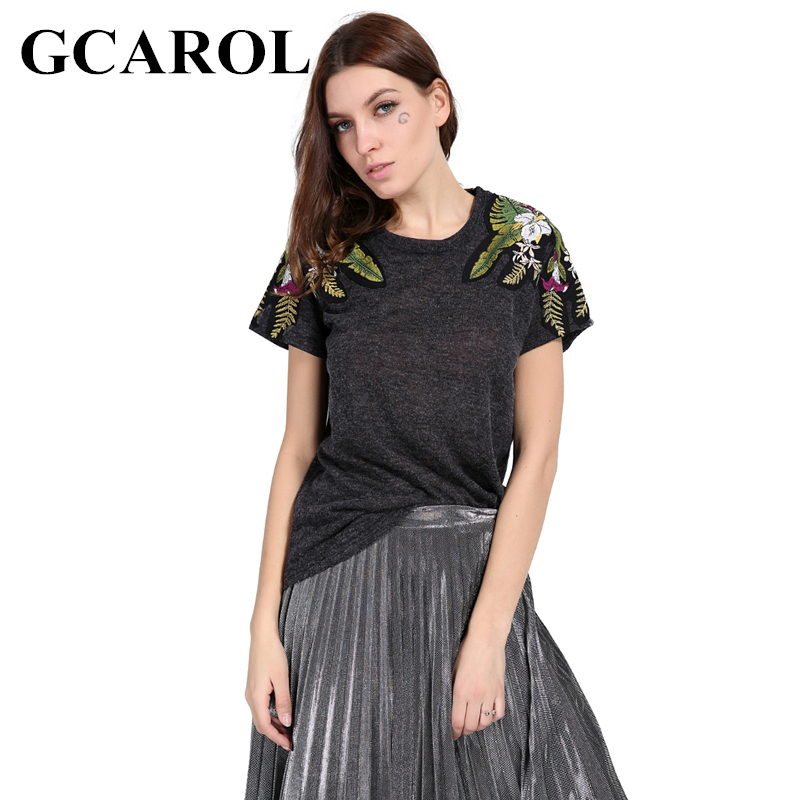 GCAROL 2018 Early Spring Embroidered Floral T shirt Two Type Shoulder Floral Design Knit Tops Tees For Ladies