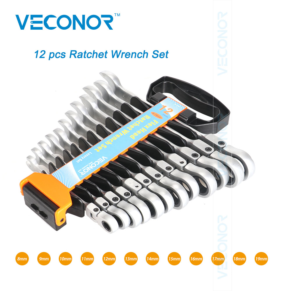 Veconor 12 pieces flexible head ratcheting key wrench set combination ratchet spanner kit 8-19mm CrV quality luxury pack 8 pcs flex head ratchet wrench set ratcheting wrench hand tool set 8 19mm chrome vanadium