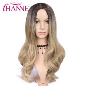 Image 3 - HANNE длинные волнистые синтетические парики Ombre светлый/серый/коричневый/розовый натуральный парик парики из высокотемпературного волокна для черных или белых женщин