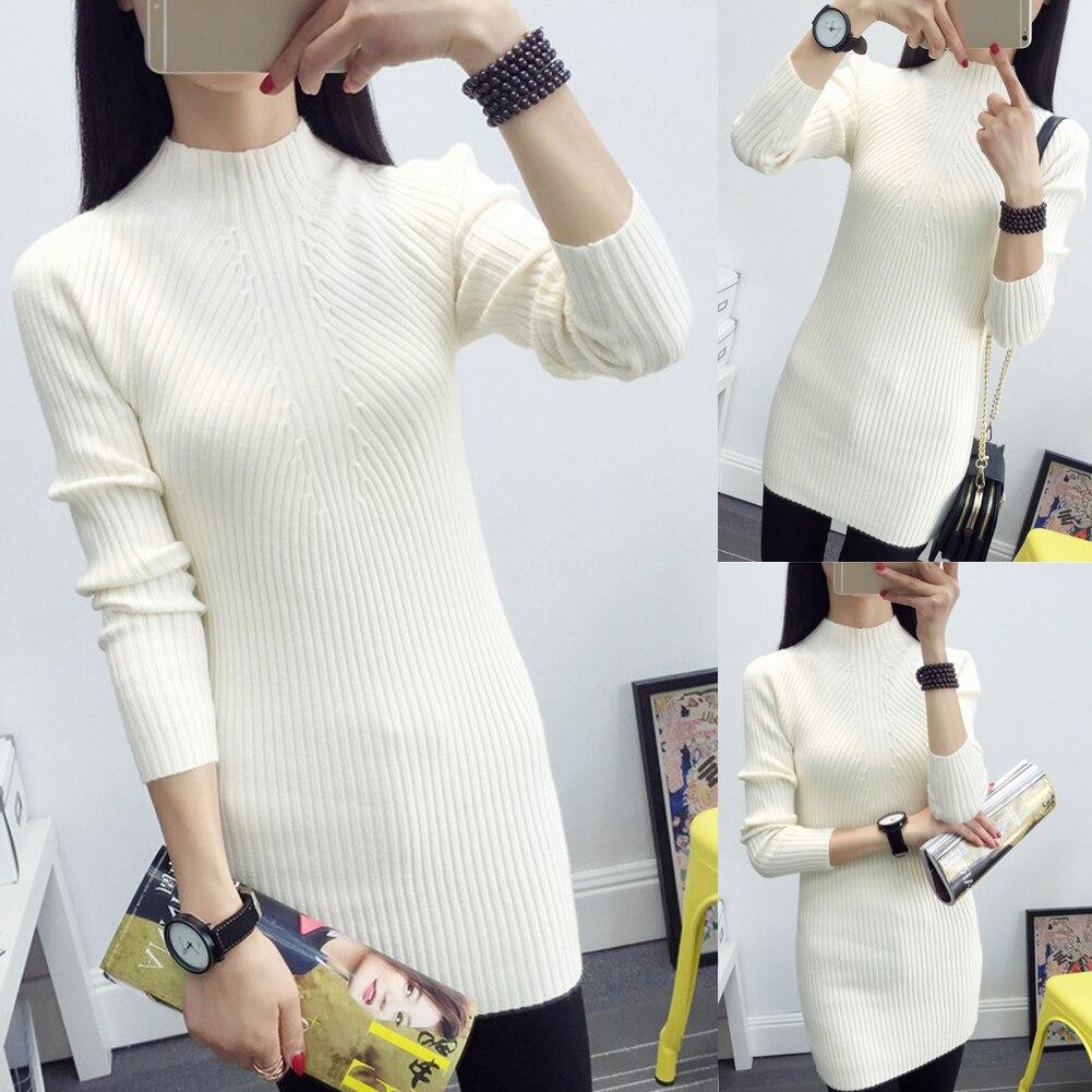 Women Winter Long Sleeve Knit BodyCon Slim Party Sweater Mini Dress