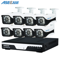 New Super 8CH HD AHD 4MP Home Outdoor Security Camera System Kit 6led Array Video Surveillance Bullet CCTV Camera P2P