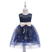 Girls Fancy Dress 2018 Star Evening Party Lace New Year Bow Grown Sleeveless 2 3 4 5 6 7 8 9 Christmas Costumes For