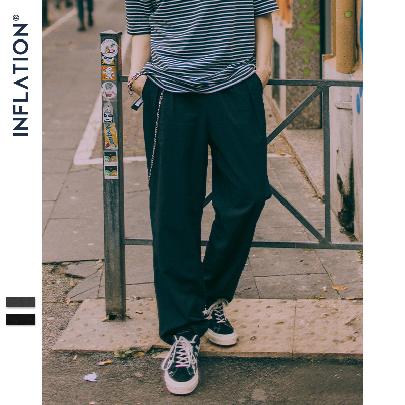 INFLATION Loose Fit Straight Pants Full Length Korean Japanese Style Casual Streetwear Pants Long Tape Harem Pants 9330S