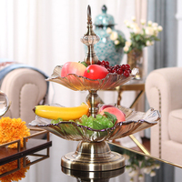 High quality Europe High quality golden Double layer Crystal glass fruit tray Candy tray Dessert plate snack tray Candy dish