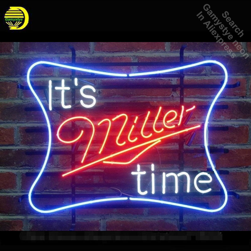 Neon Sign for It's Miller Time Neon Tube vintage Beer Business sign handcraft Lamp Store Displays Gifts light Flashlight sign