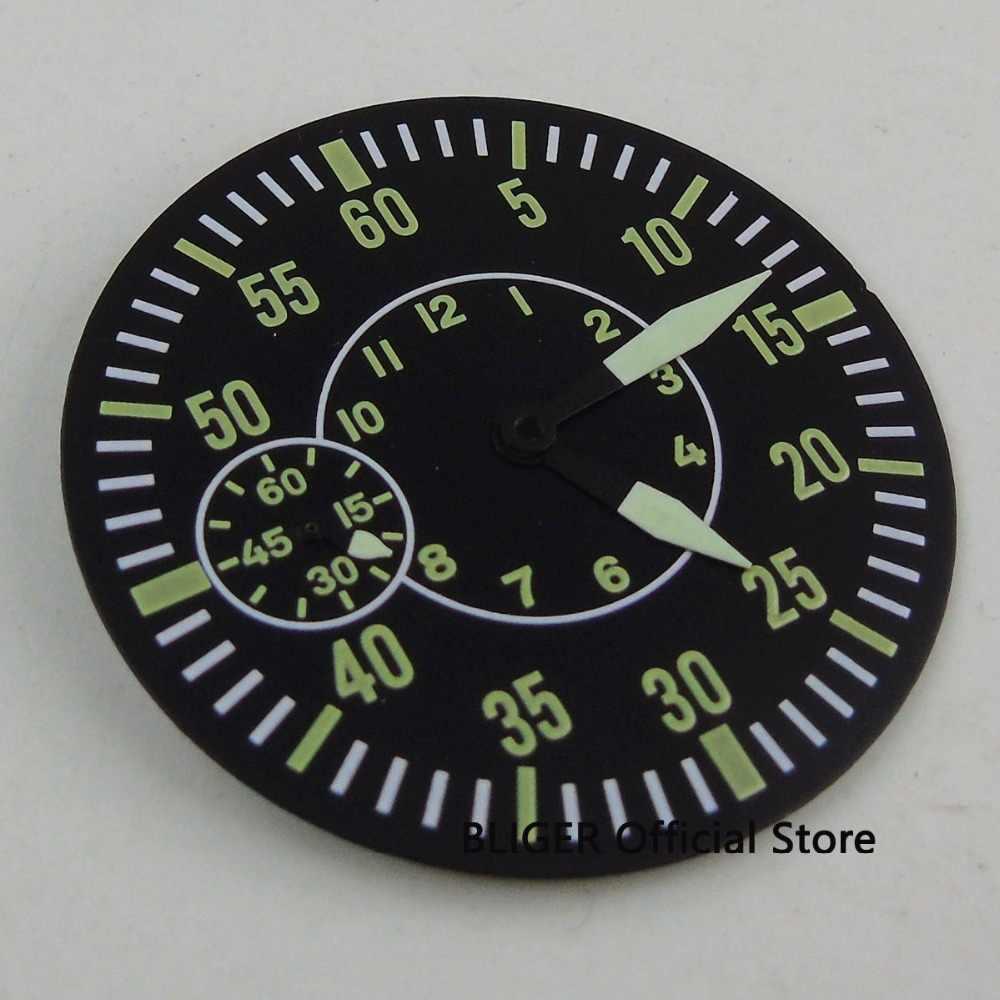 "Bliger 38.9 מ""מ ירוק מספרי סטרילי שעון חיוג + שעון ידיים fit ETA 6497 ST 3600 תנועת שעון מקרה שחור עגול חיוג"