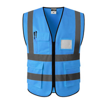 Blue Reflective Vest Safety Clothing Workplace Road Working Motorcycle Cycling Sports Outdoor Print LOGO #002