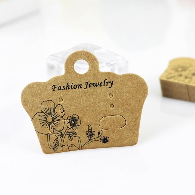 New Fashion 200pcs Lot 5x4cm Brown Kraft Paper Earring Card Cute Ear Studs Display Packaging