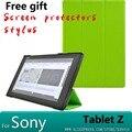 Elegante magnética ultra delgada de lujo de la pu leather case cubierta de la cubierta para sony xperia tablet z2 tablet case + screen protector + stylus
