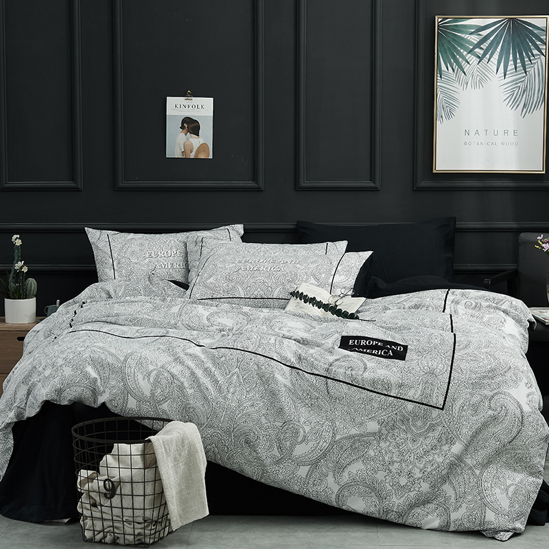 Luxury 100 Cotton Bedding set Queen King size Bed set Duvet cover Black Bed Sheet Soft