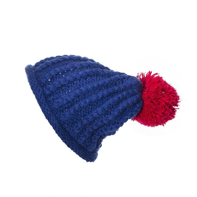 Women Winter Warm Ball Cap Pom Poms Hat Girls Thick Knitted Skullies Beanies Caps Skullies Beanies