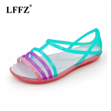 Women Sandals Summer New Candy Color Women Shoes Peep Toe Stappy Beach Valentine Rainbow Cr