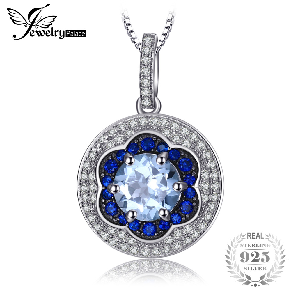Flower 1.6ct Sky Blue Topaz Created Blue Spinel Cluster Pendants 925 Sterling Silver Jewelry Not Include a Chain