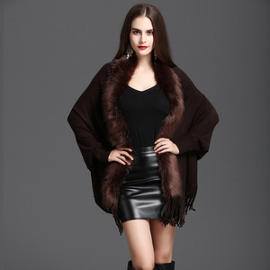 Image 3 - New Spring Womens Fake Fox Fur Coat Cashmere Sweater Poncho Gray Women Gray Long Thick Knitted tassel Cardigan Capes