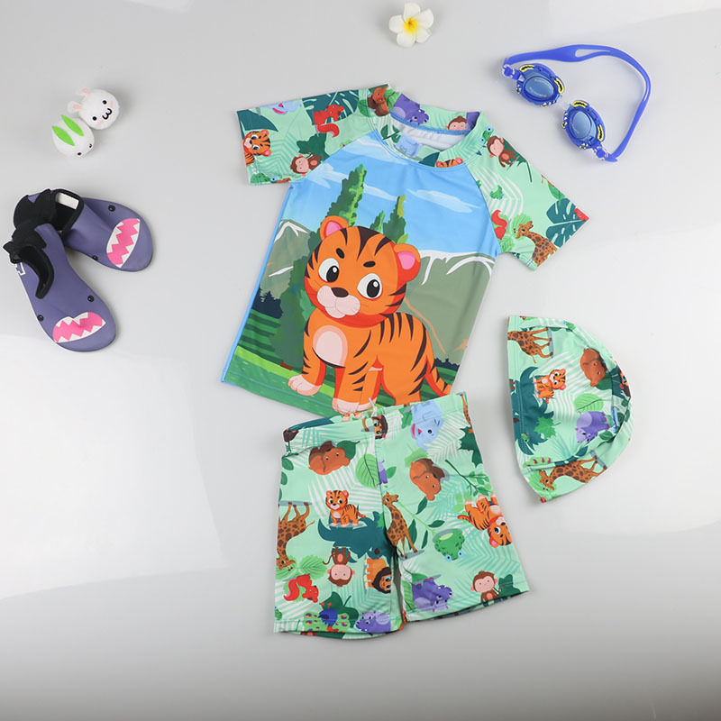 Baby Kids Boys Swimwear Short Sleeve Children Quick Drying Swimsuit Tiger Printed Swimming Suits Sunscreen Beach Bathing Suit