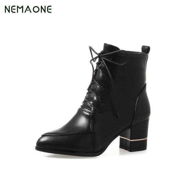 NEMAONE Nouvelle Mode Femmes Chaussures Bout Pointu Bottes D automne Pour  Les Femmes Boucle Bottines 508376102dd0