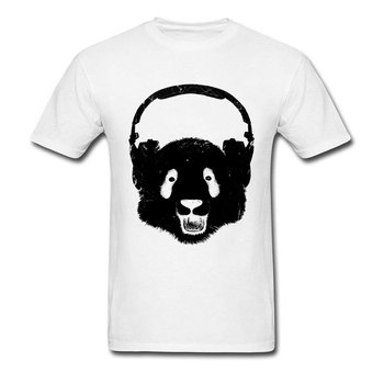 Hiphop Headphones Panda Drunk T Shirt Latest Design Fashion Men's Print Short Sleeve Brand Clothing Autumn Tops Tees On Sale