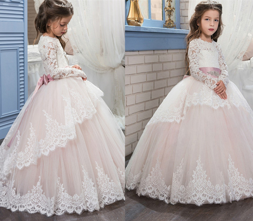 2017 for Little Girls First Communion Dress Long Sleeves Lace Appliques with Sashes Birthday Gown Flower Girl Dresses Custom fancy pink little girls dress long flower girl dress kids ball gown with sash first communion dresses for girls