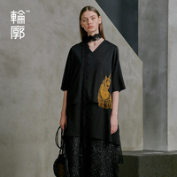 Outline Spring Summner New Women Black Tees Vintage Mid length Pullover Tops Embroidery V Neck Tassel T Shirt L191Y009