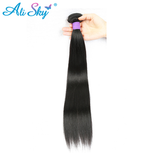 Ali Sky Brazilian straight hair Natural Black 100% human hair Weave thick bundles 8-26inch freeshipping can be permed nonremy