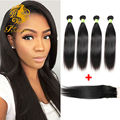Peruvian Straight Hair With Closur Middle Free Three Part 7A Peruvian Virgin Hair 4 Bundles Human Hair Bundles With Closure