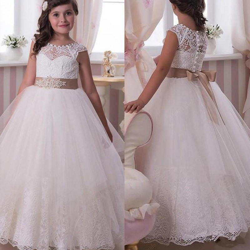 Lovely 2017 White Ball Gown   Flower     Girl     Dresses   Lace First Communion   Dresses   For   Girls   Beading Bow Little Bride   Dress   M1034