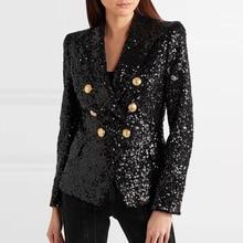 Dạo Phố Cao Cấp Kiểu Dáng Thời Trang 2020 Đường Băng Áo Blazer Nữ Đôi Kim Loại Sư Tử Nút Đính Hạt Cườm Lấp Lánh Áo Khoác Blazer