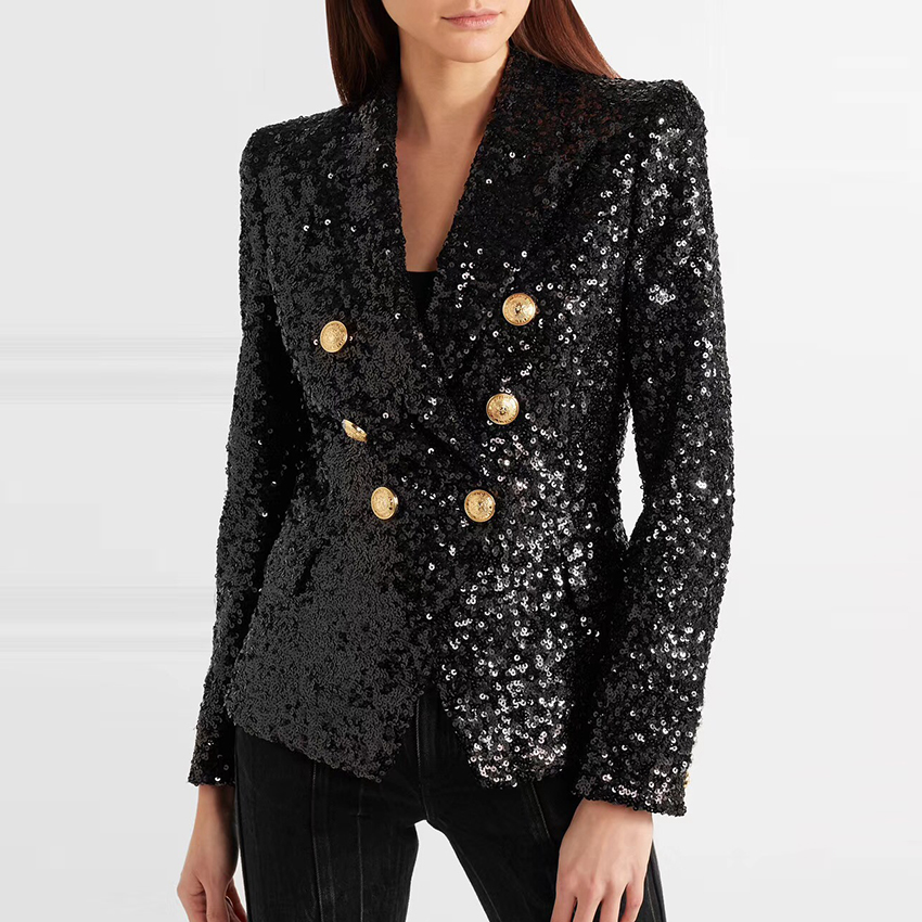 HIGH STREET Stylish 2019 Runway Blazer Women's Double Breasted Metal Lion Buttons Sequined Glitter Blazer Jacket
