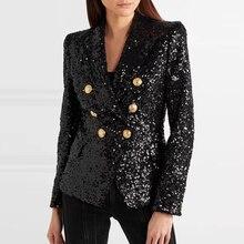 Yüksek sokak şık 2020 pist Blazer kadın kruvaze Metal aslan düğmeler payetli Glitter Blazer ceket