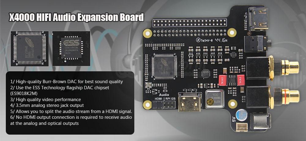 Raspberry Pi X4000 ES9018K2M Hi-Fi HDMI RPi i2S Audio Player DAC
