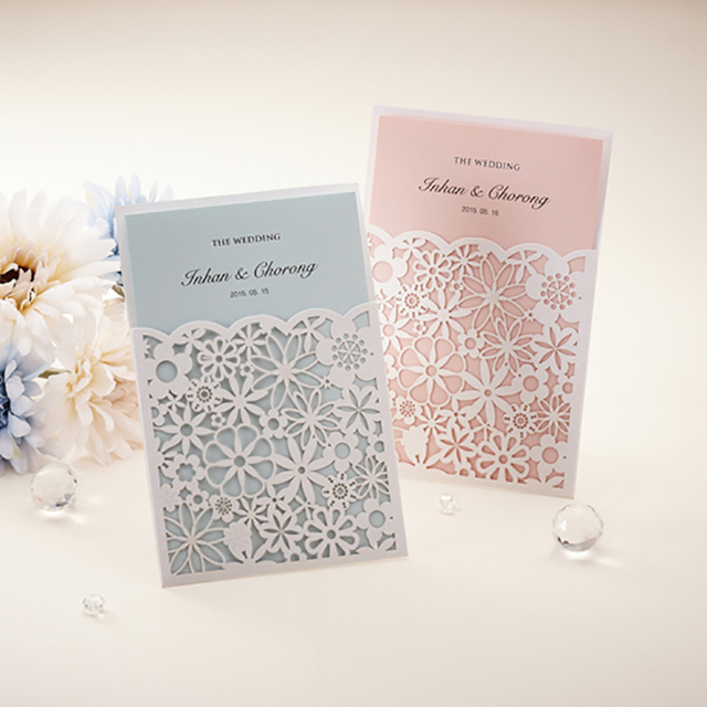 New Style 1Pcs 6 Color Insert Cards elegant Wedding invitations
