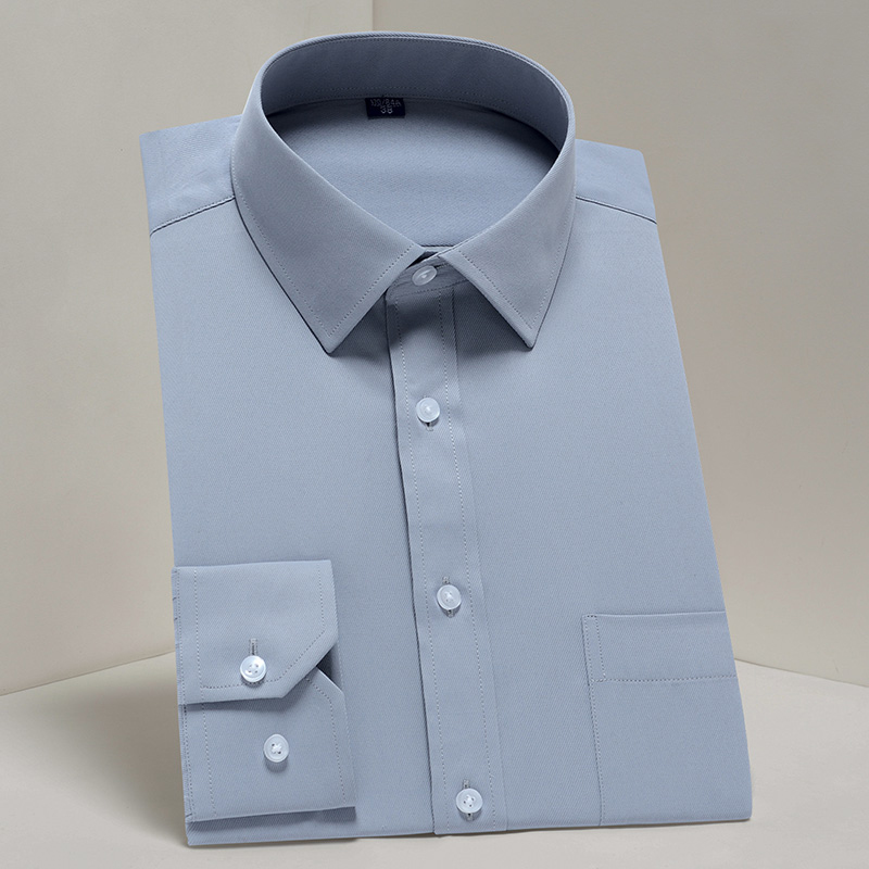 Men's Classic Long Sleeve Solid Basic Dress Shirts Comfortable Soft Formal Business Social Standard-fit Easy-care Tops Shirt
