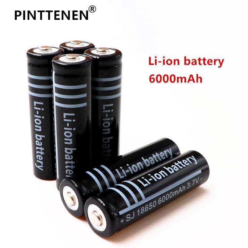 2 шт. 3,7 В 18650 6000 мАч литий-ионный Перезаряжаемые Батарея для светодиодный фонарик для аварийного освещения портативное устройство Бесплатна...