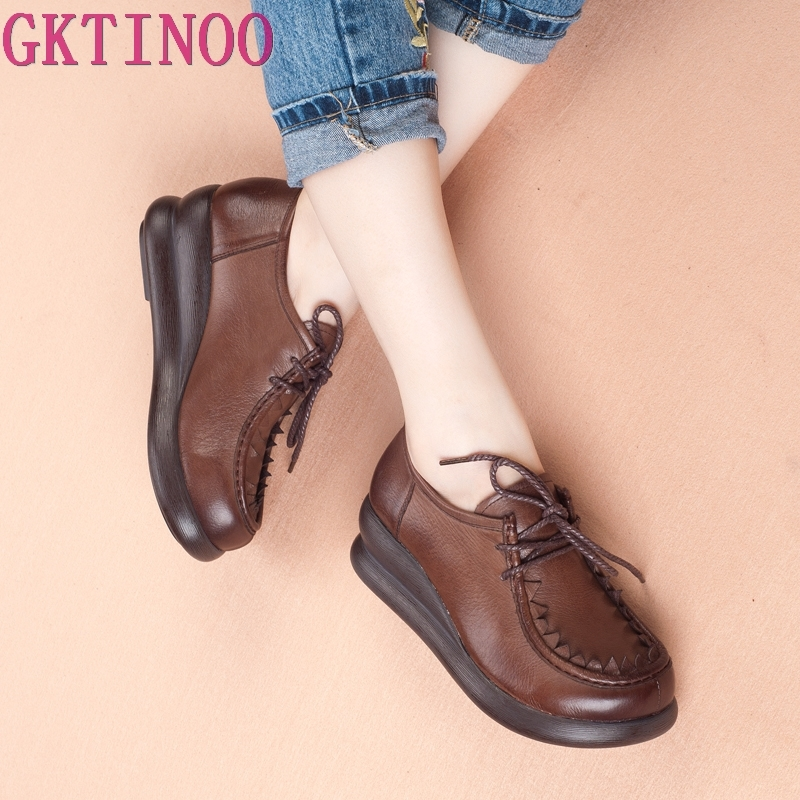 Women Casual Shoes Lightweight Fashion Design Flats Lace-Up women Shoes Genuine leather shoes Woman Flat Platform spring shoesWomen Casual Shoes Lightweight Fashion Design Flats Lace-Up women Shoes Genuine leather shoes Woman Flat Platform spring shoes