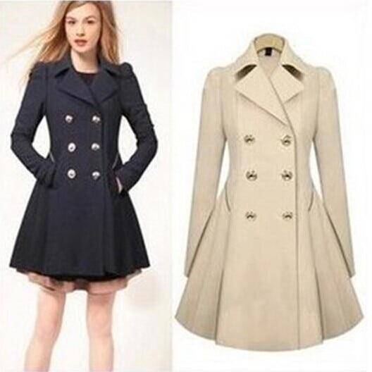 2018 Autumn Winter Warm Peacoat Women Fashion Ol Trench -6286