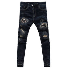 Jeans new men's fashion patch hole embroidery solid color jeans men's stretch dark blue feet jeans men's slim casual  jeans modish solid color hole design narrow feet jeans for men