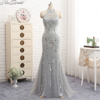 robe de soiree New Style Halter Evening Dresses Long Sequins Beaded Tulle Prom Dress Sleeveless Gray Party Gown Backless