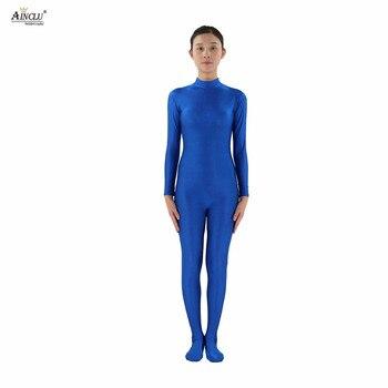 Ainclu Mulheres Spandex Lycra de Nylon Azul Cabeça-handless Segunda Pele Do Corpo Apertado Personalizado Cor Da Pele Terno Traje Cosplay Zentai