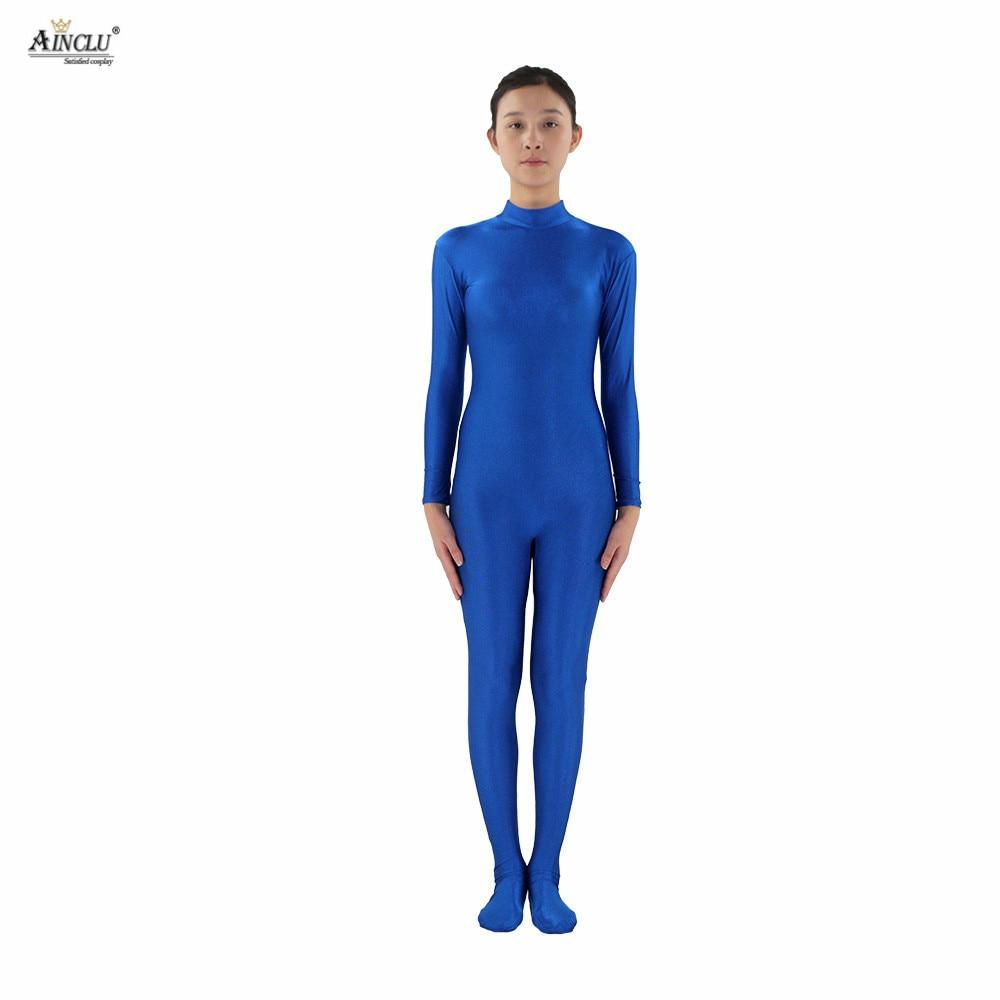 Ainclu Women Spandex Nylon Lycra Blue Head-handless Body Second Skin Tight Color Custom Skin Suit Cosplay Costume Zentai