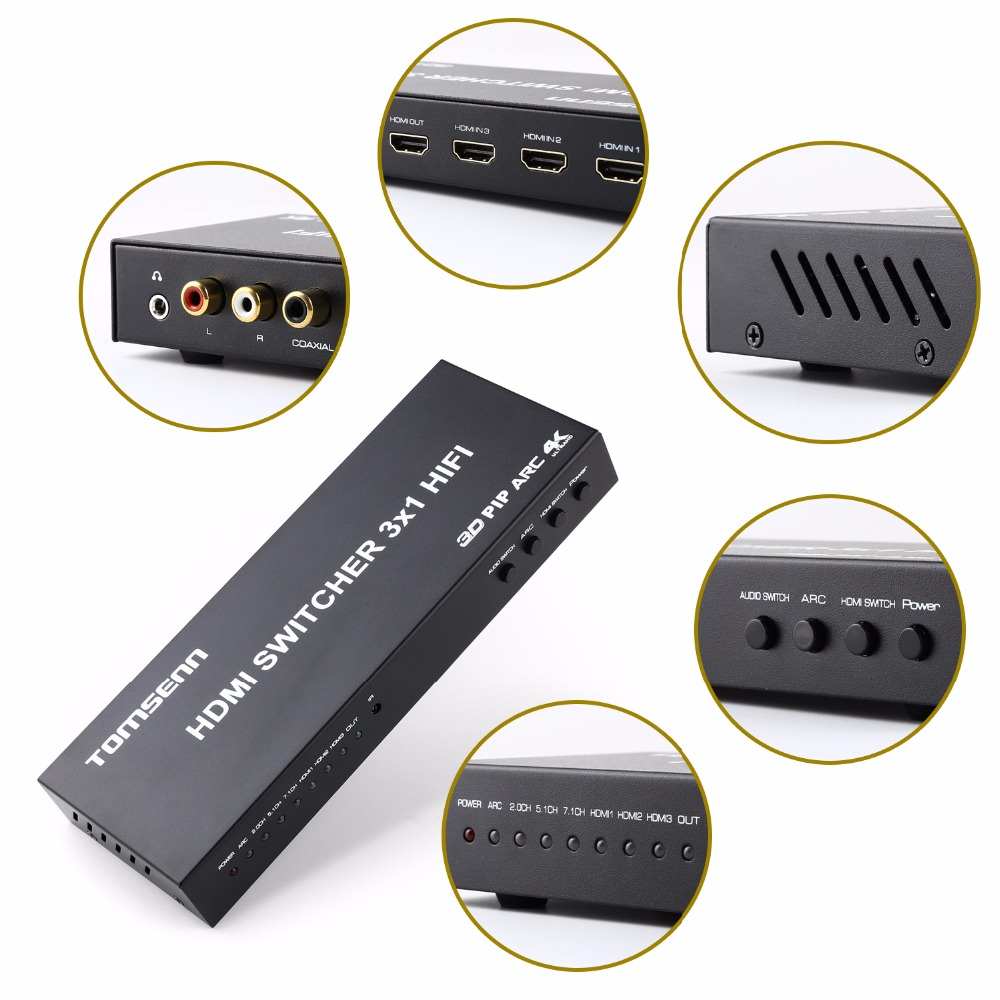 4kx2k 3 Port  hdmi switch 3x1 with Toslink/ Coaxial/OPTICAL  Audio  extractor Supports ARC, 3D1080P