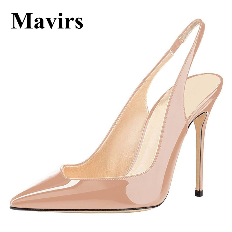 MAVIRS Brand High Heels Women Pumps 2018 Spring Sexy Point Toe Patent Black Blue White Nude Rose Wedding Shoes US Size 5 15