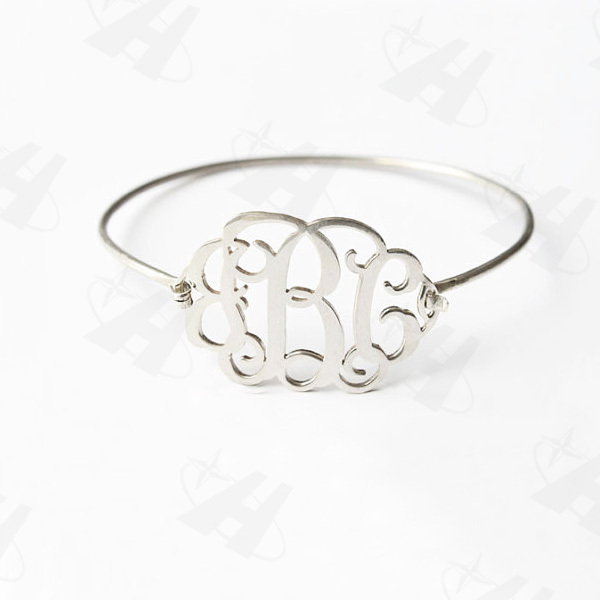 Silver Plated Monogram Wire Bangle Personalized Name Bracelets Bangles Fashion Initial For Women Bridesmaid Gift In From Jewelry