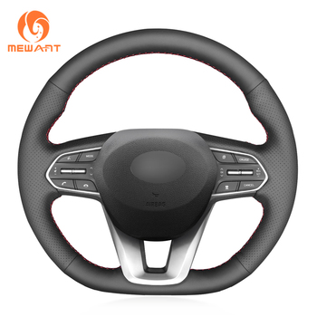 MEWANT Black Genuine Leather Soft Hand Sew Wrap Car Steering Wheel Cover for Hyundai Santa Fe 2019