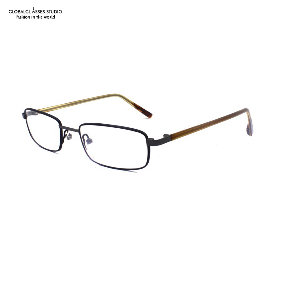 Small Shape Rectangle Lens Slim Metal Frame Brown Acetate Temple ...