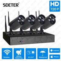 SDETER 4CH Wireless NVR Kit 720P Outdoor Waterproof IP Camera Video Security Camera Wifi IR CUT