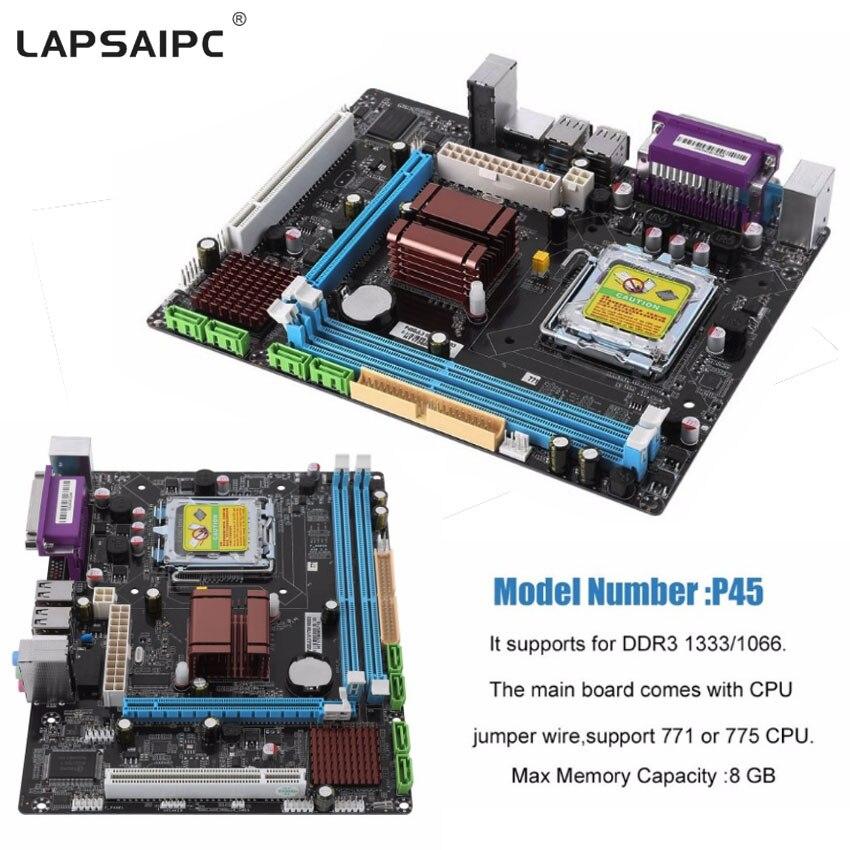 Lapsaipc P45 carte mère Fast Ethernet carte mère de bureau prise LGA 771/775 double carte DDR3 8 GB Support L5420